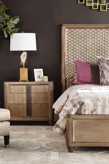 """66"""" Casual Textured Queen Panel Bed in Oak"""