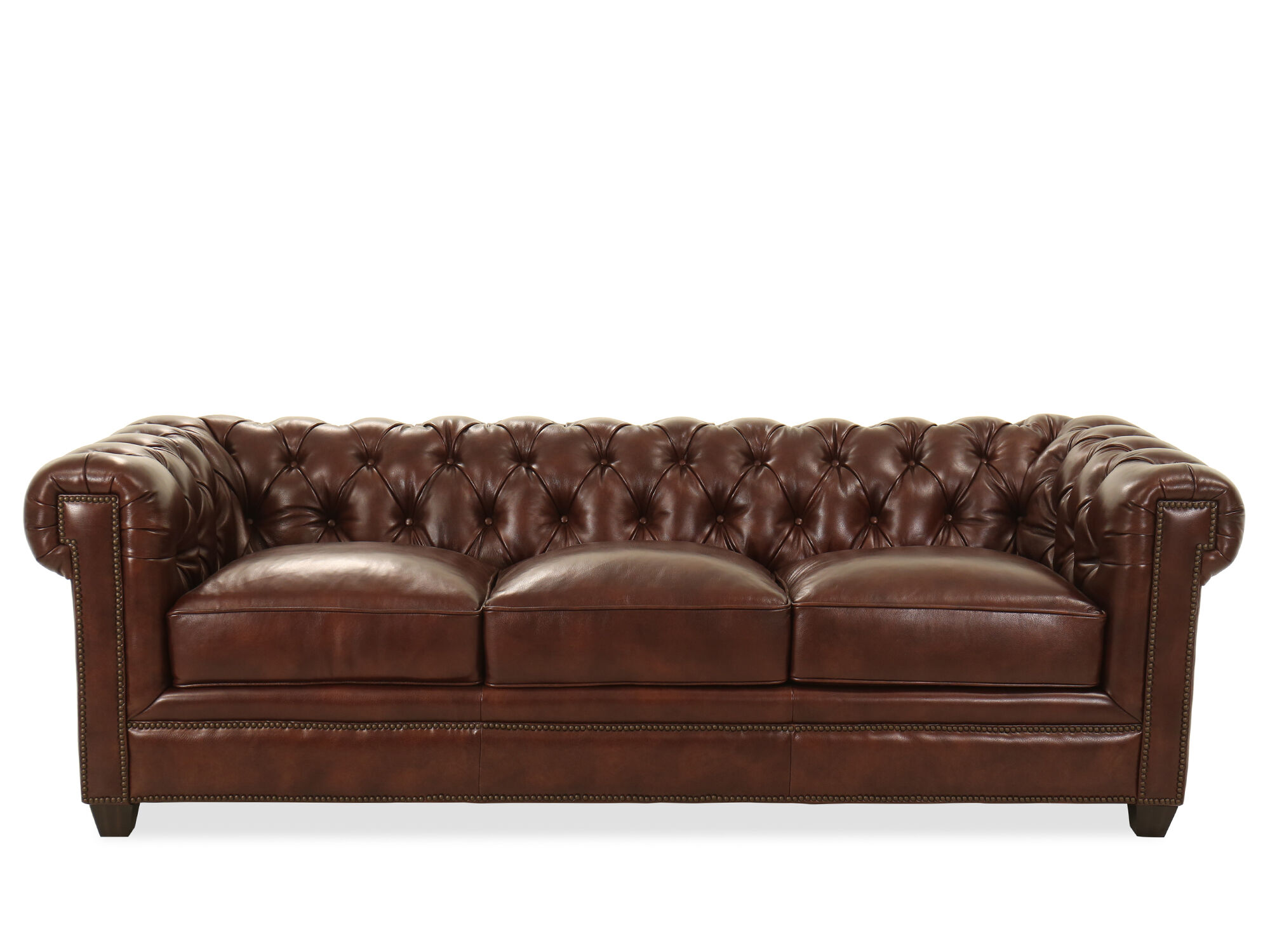 94 Tufted Leather Chesterfield Sofa In Milano Fudge Mathis