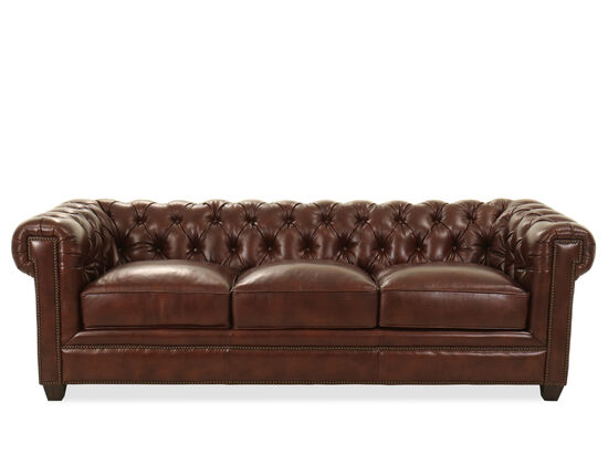 "94"" Tufted Leather Chesterfield Sofa in Milano Fudge"