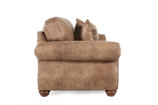 "Nailhead-Trimmed Traditional 66"" Loveseat in Brown"