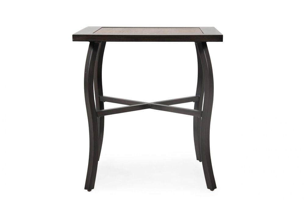 X-Stretcher Aluminum Cafe Table in Dark Brown