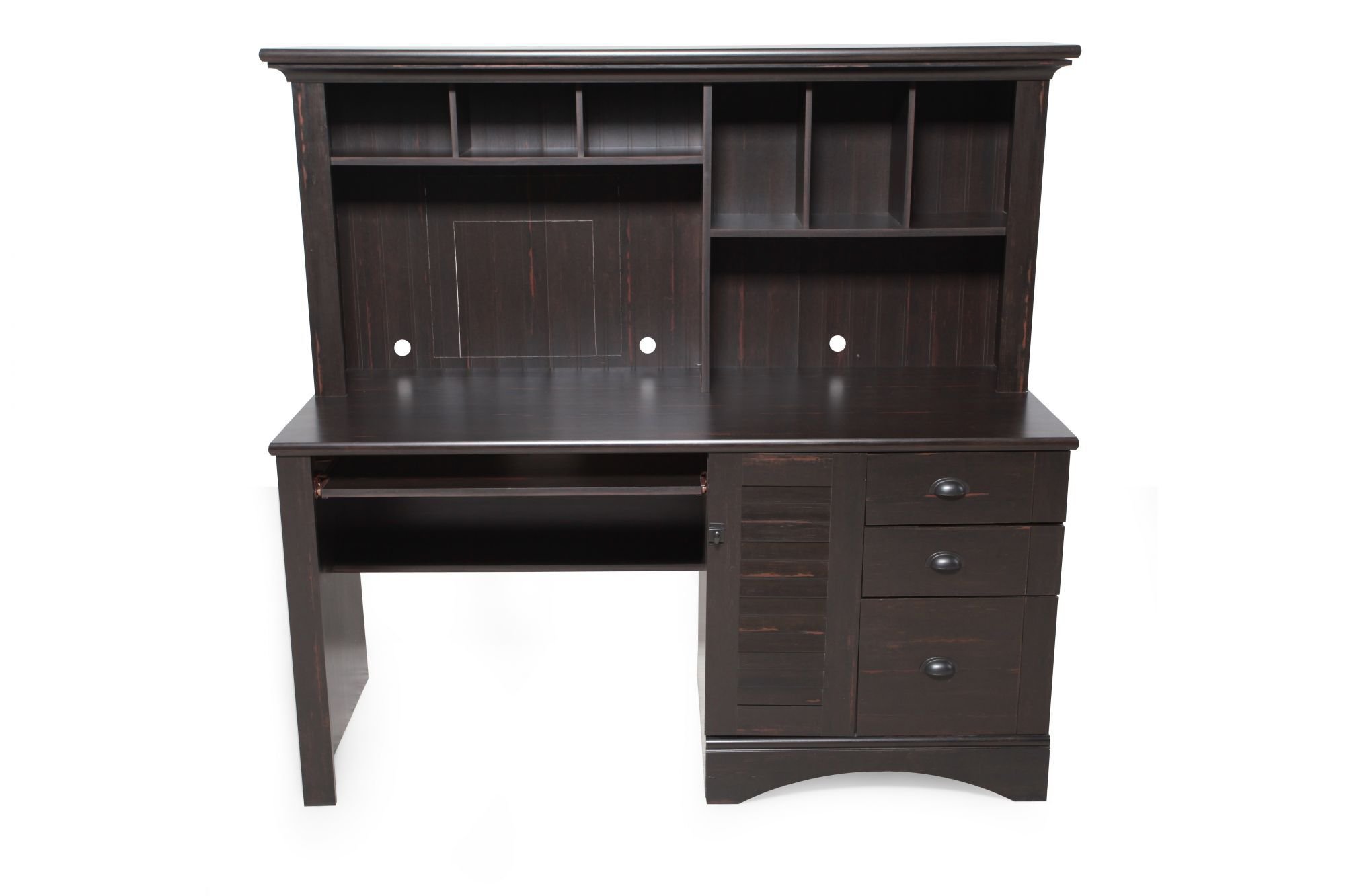 62u0026quot; Casual Computer Desk With Hutch In Antiqued Black