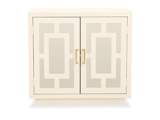 Contemporary Geometric Accent Cabinet in White
