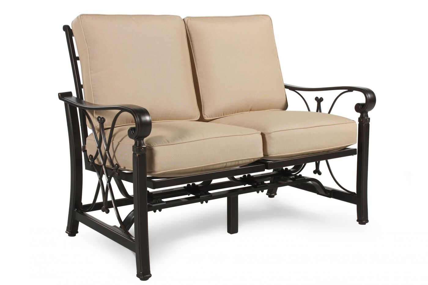 Aluminum patio loveseat with cushion in beige mathis brothers furniture Patio loveseat cushion