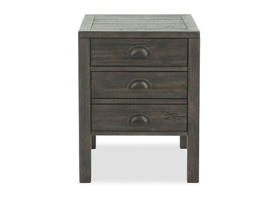 Three-Drawer Casual End Table in Brown
