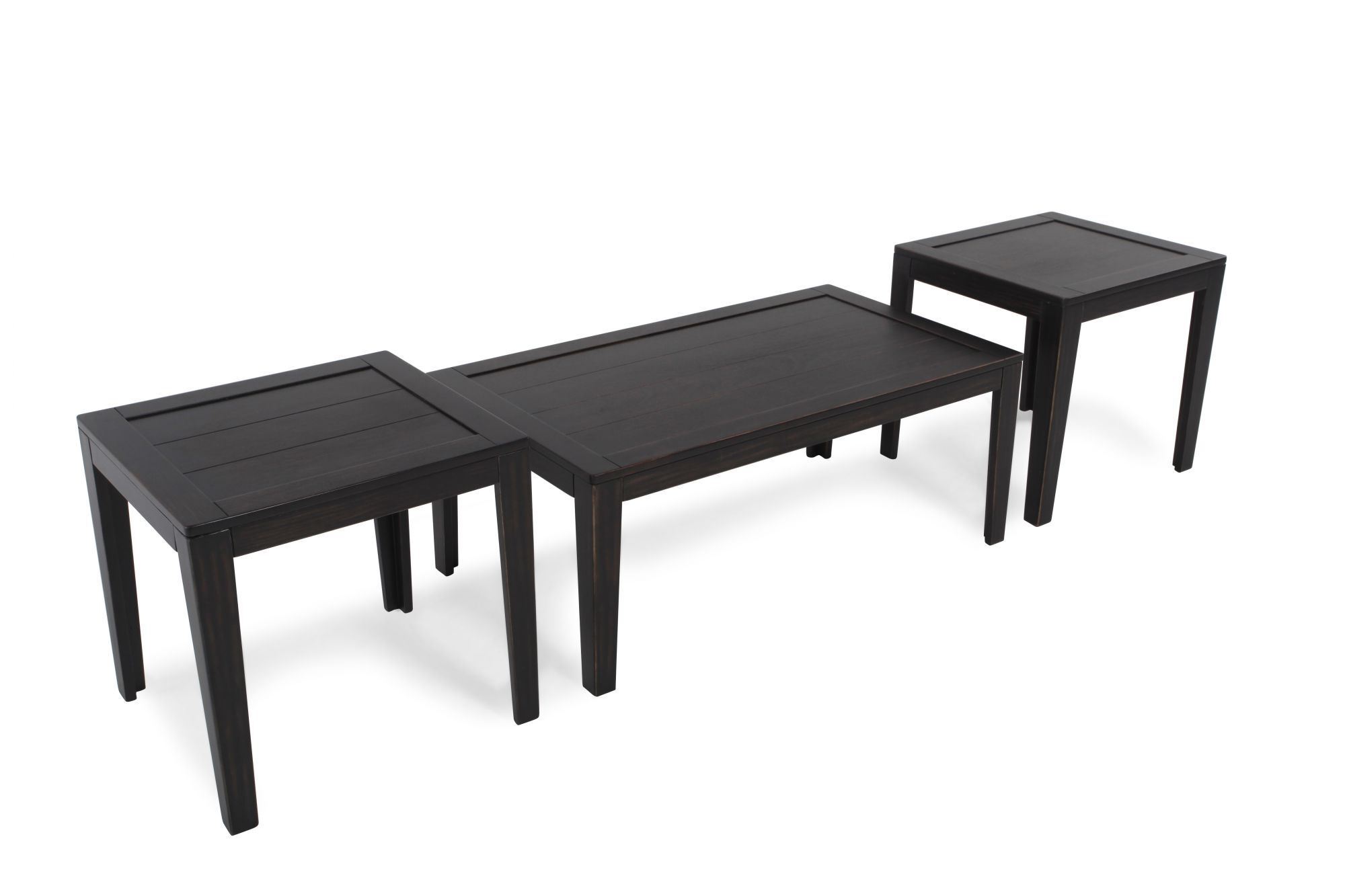 Three piece contemporary occasional table set in dark - Three piece living room table set ...
