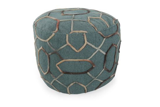 """Traditional 20"""" Ottoman in Blue"""