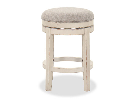 "17.5"" Wood Swivel Barstool in White"