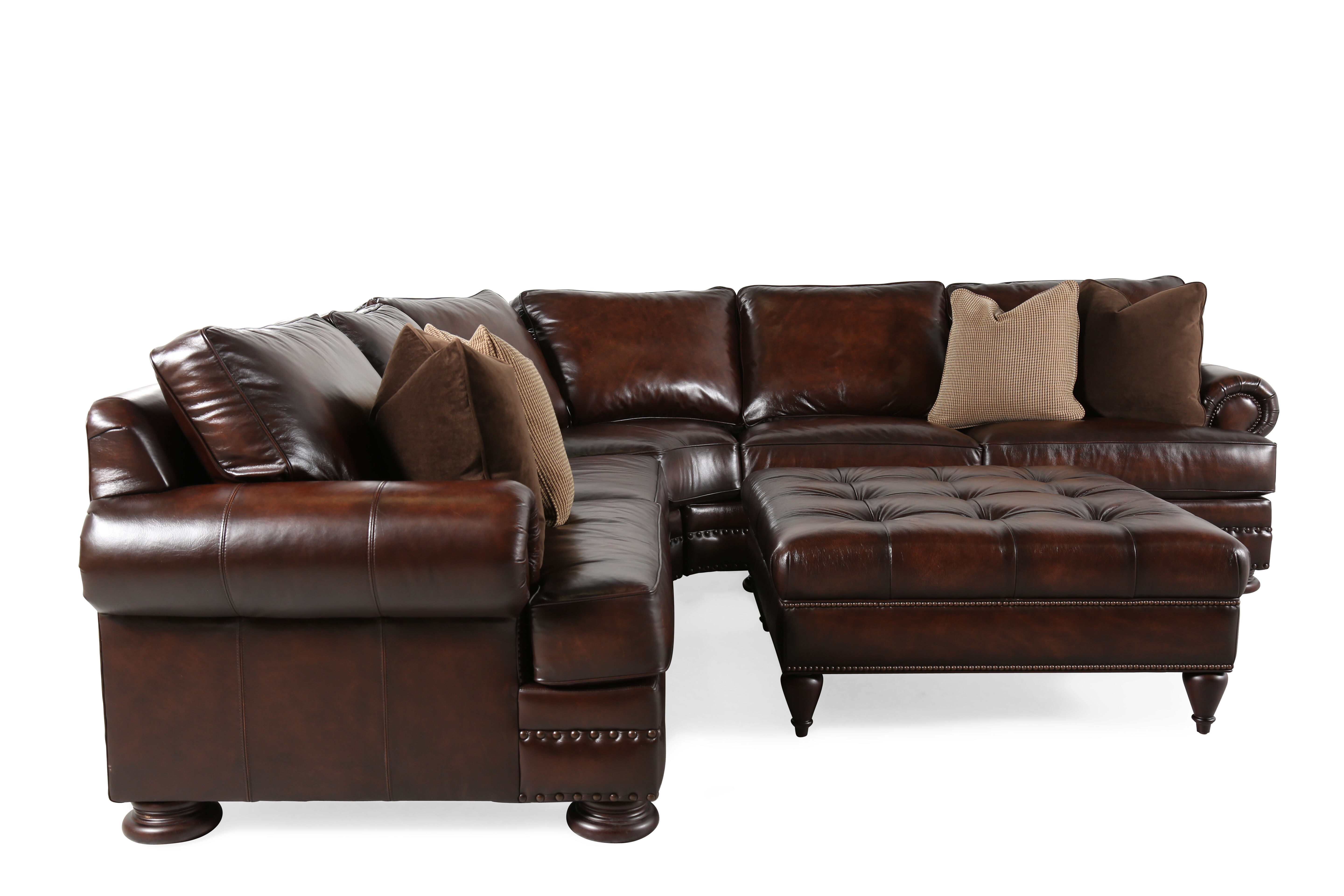 Two Piece Leather 115u0026quot; Sectional With Ottoman ...