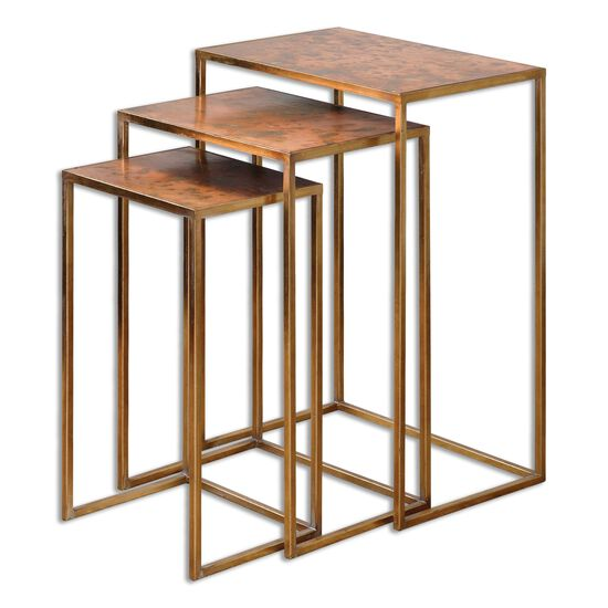 Three-Set Nesting Coffee Table Set in Gold Leaf