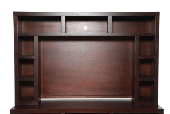 Open Shelves Transitional Entertainment Hutch in Rich Brown Cherry
