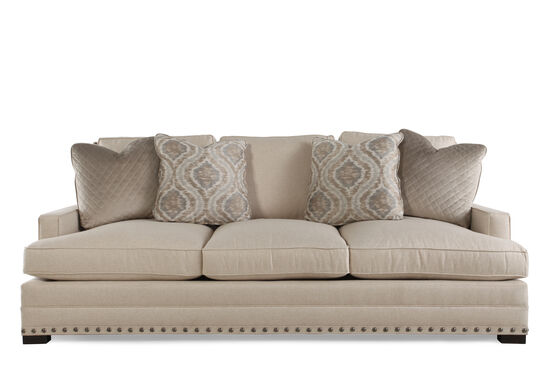 "Traditional Low-Profile 94"" Sofa in Beige"