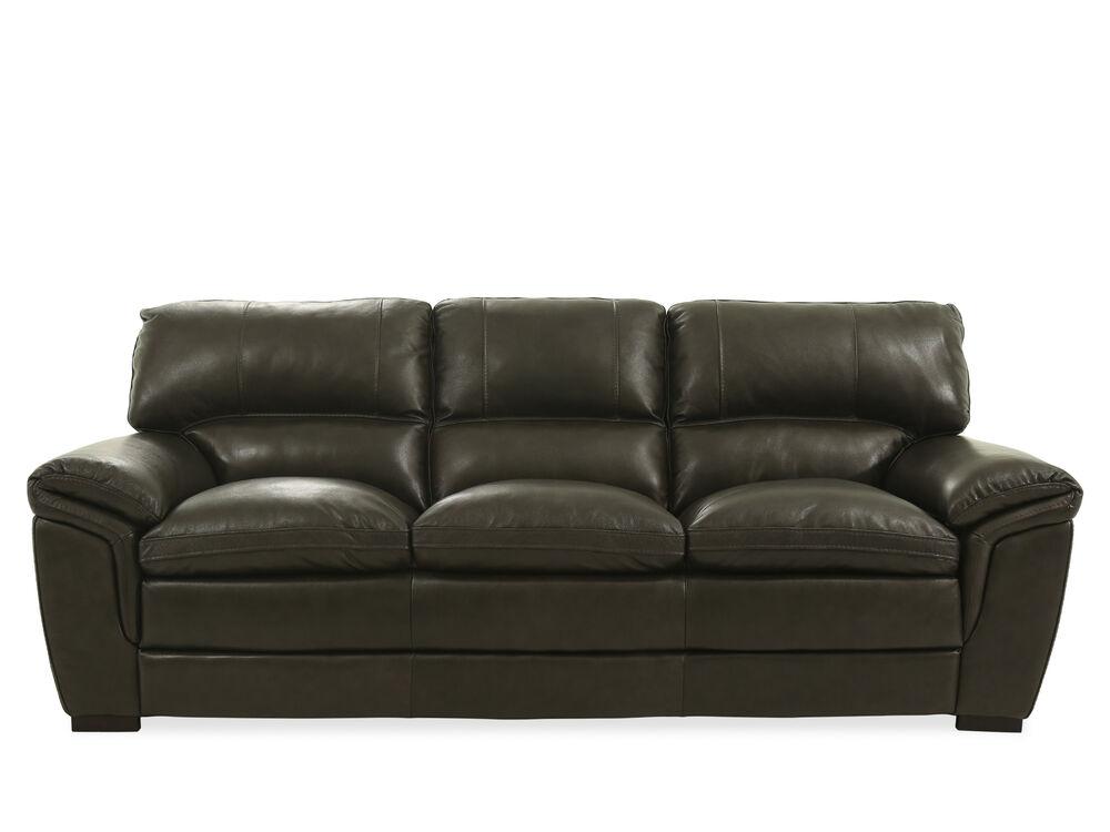 "93"" Leather Sofa in Dark Gray"
