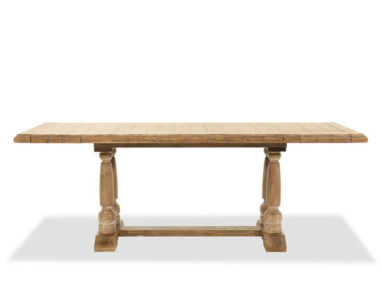 """Traditional 84"""" Rectangular Pedestal Friendship Table in Light Brown"""