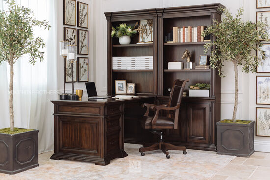 Traditional Desk with Open Bookcase in Tobacco