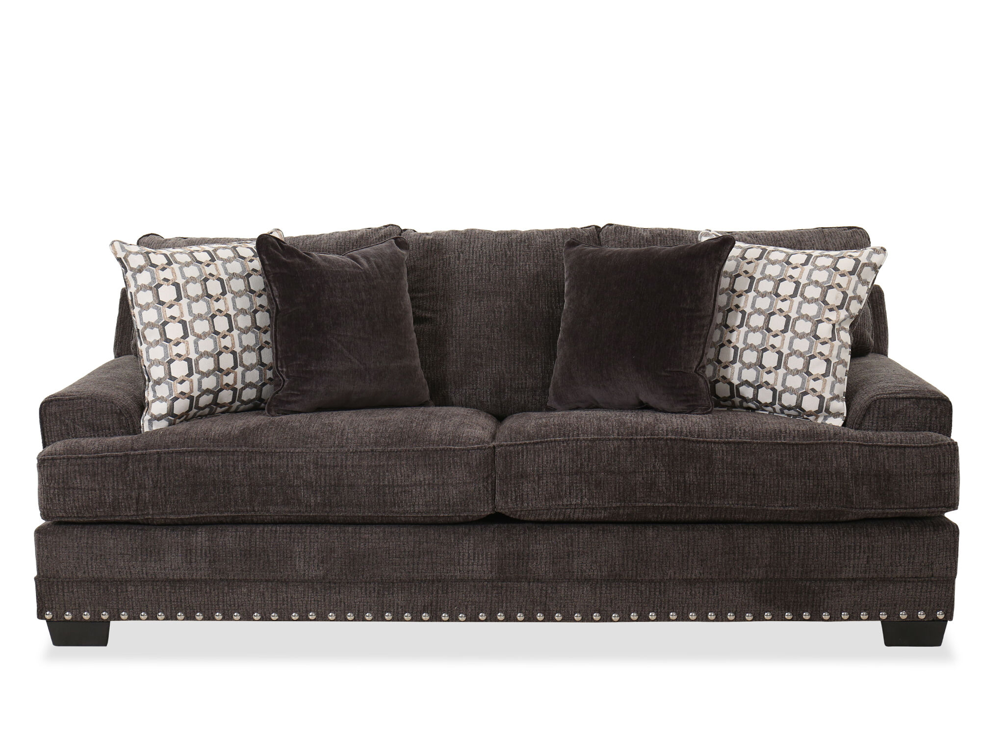 Nailhead-Accented Contemporary Sofa in Charcoal   Mathis Brothers ...