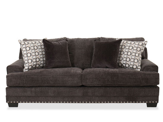 Nailhead-Accented Contemporary Sofa in Charcoal