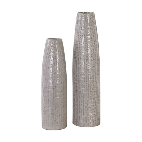 Two-Piece Textured Cylindrical Vases in Pale Taupe