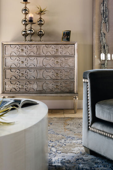 """45"""" Lyre-Carved Four-Drawer Media Chest in Cream"""