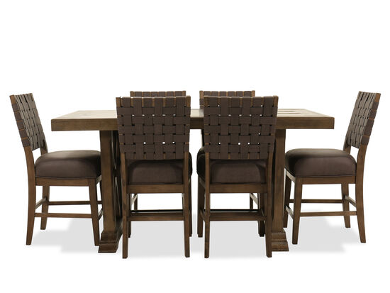 Seven-Piece Pub Dining Set in Brown