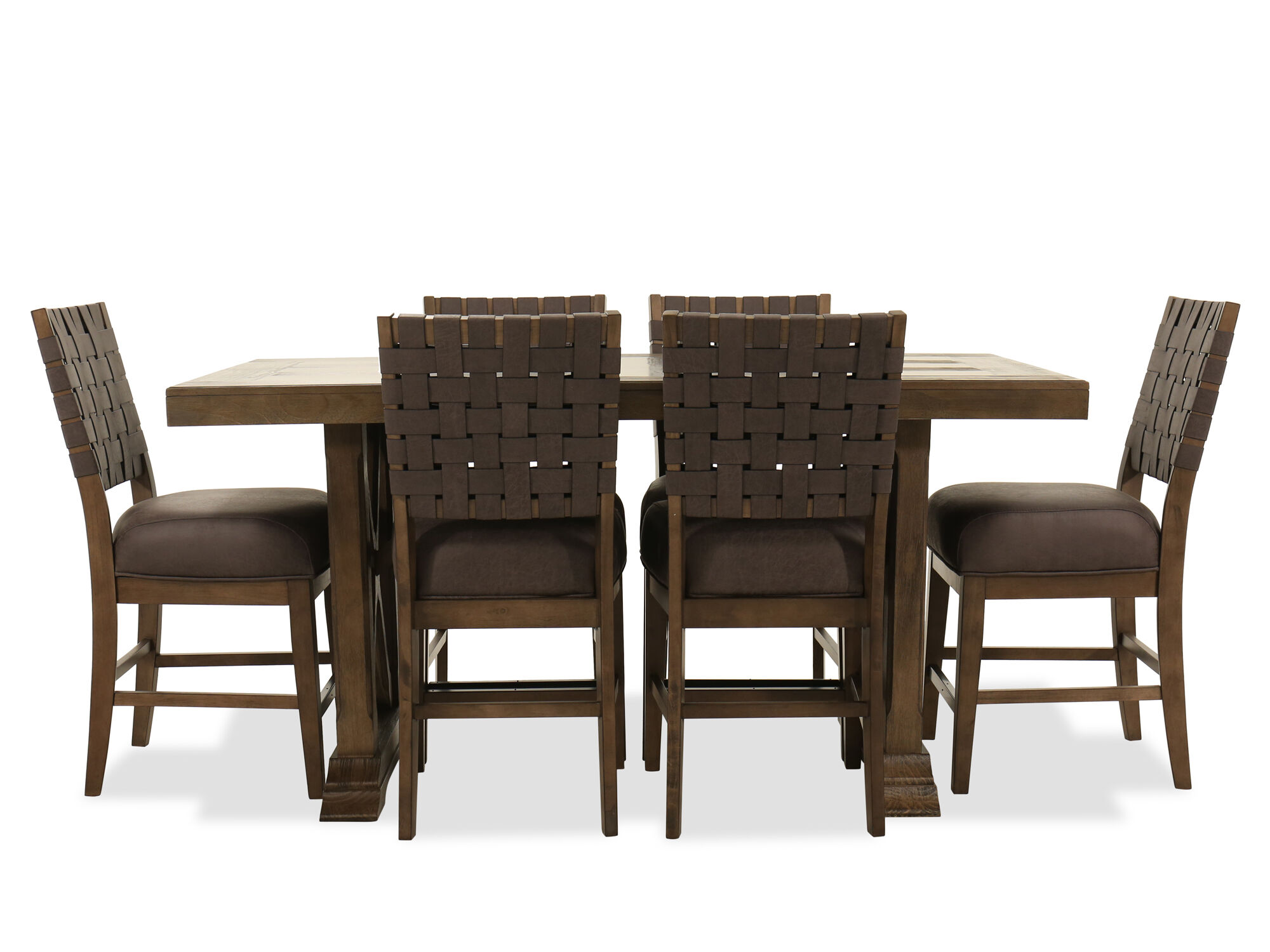 Images Seven Piece Pub Dining Set In Brown