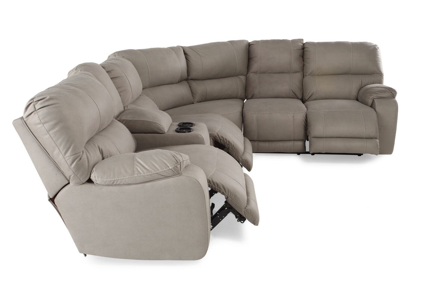 Three piece microfiber 103quot sectional in putty gray for 3 piece microfiber recliner sectional sofa