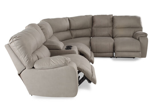 """Three-Piece Microfiber 103"""" Sectional in Putty Gray"""