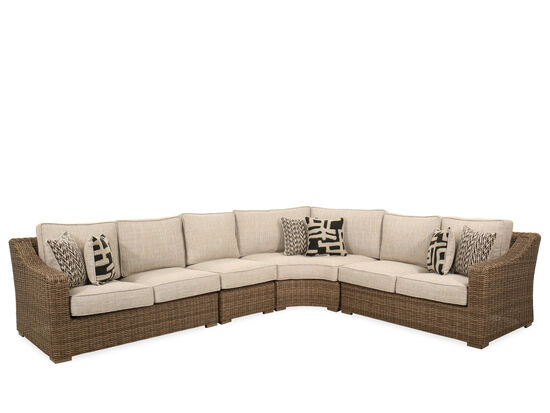 Four-Piece Casual Woven Patio Sectional in Beige