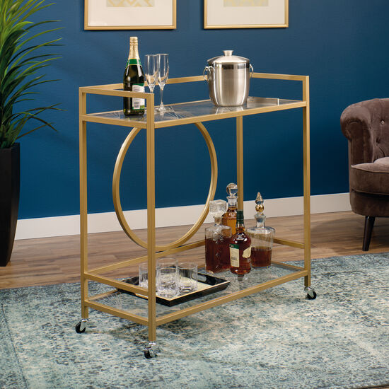 "Traditional 36"" Bar Cart in Satin Gold"
