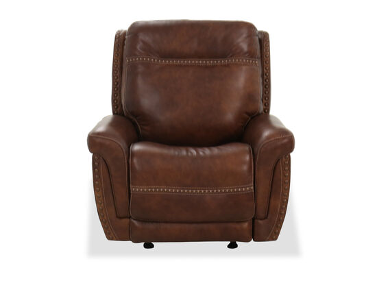 Nailhead-Accented Casual Power Glider Recliner in Brown