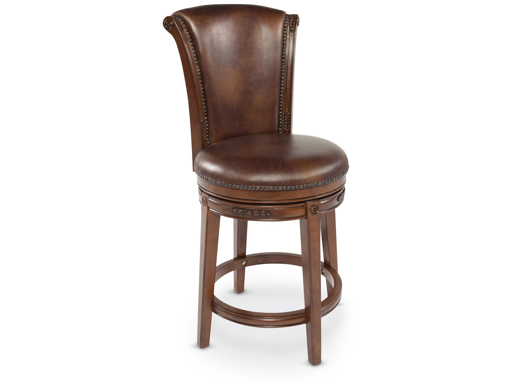Nailhead Accented 46 5 Quot Bar Stool In Brown Mathis