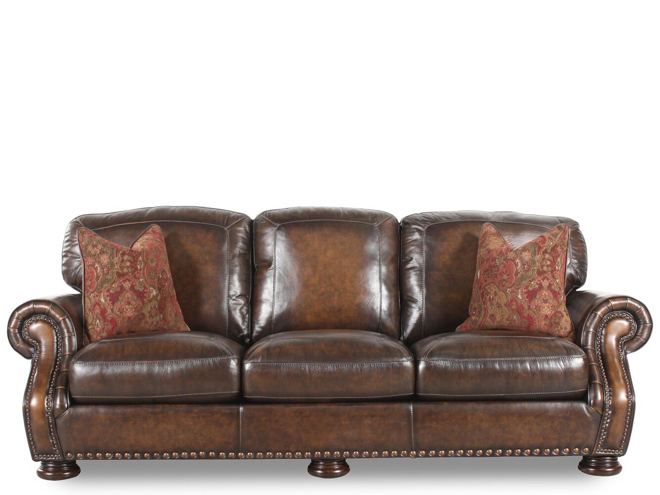 Nailhead accented leather 97 sofa in brown mathis brothers furniture for Mathis brothers living room furniture