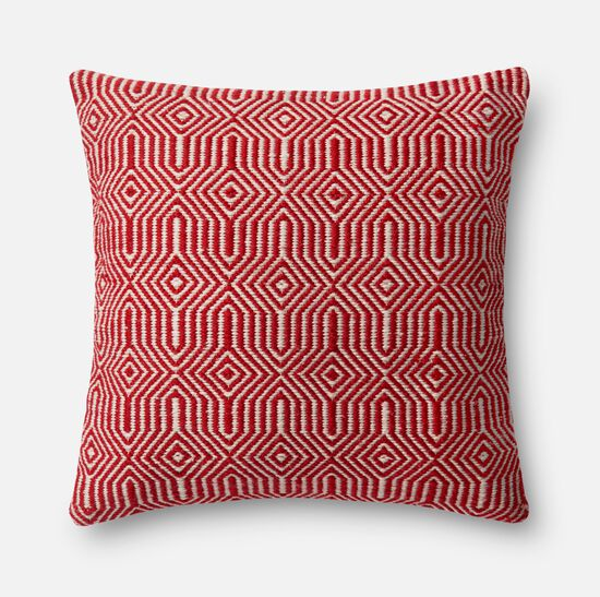 """Indoor/outdoor 22""""x22"""" Cover w/poly pillow in Red/Ivory"""
