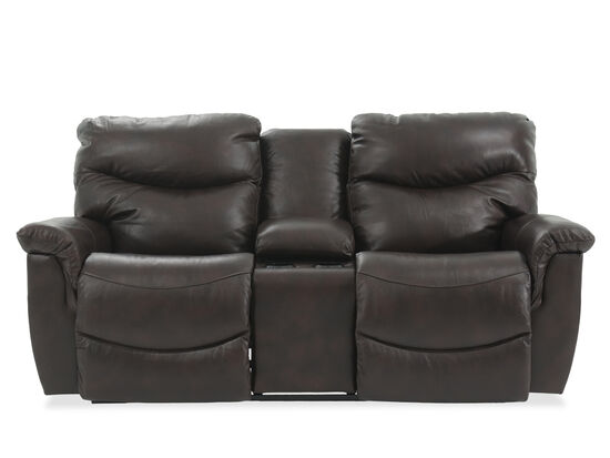"""Full Reclining Casual 79"""" Loveseat with Console in Brown"""