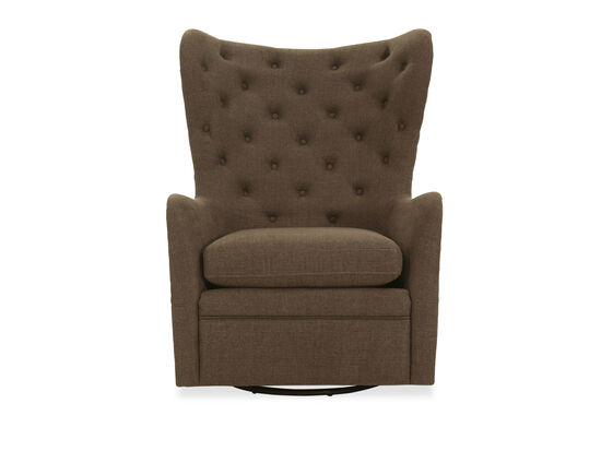 Button-Tufted Wingback Gliding Chair in Charcoal