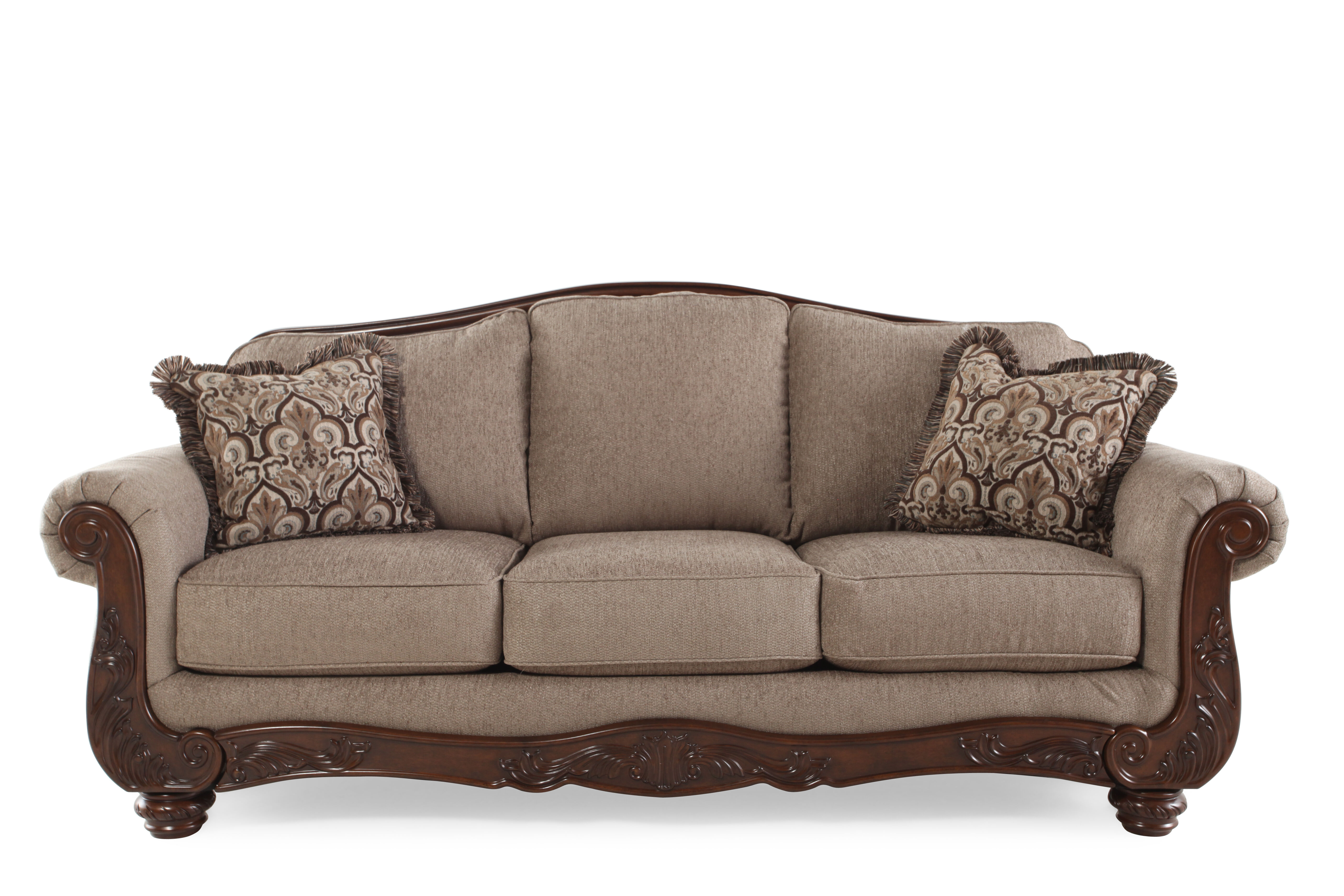 Captivating Traditional Rolled Arm 86u0026quot; Sofa In Cocoa Part 12