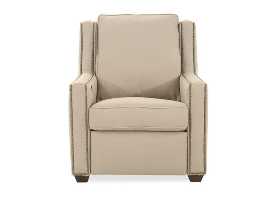 """Nailhead-Trimmed Transitional 34"""" Power Recliner in Beige"""