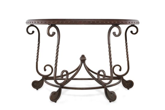 Scrolled Base Traditional Sofa Table in Brown