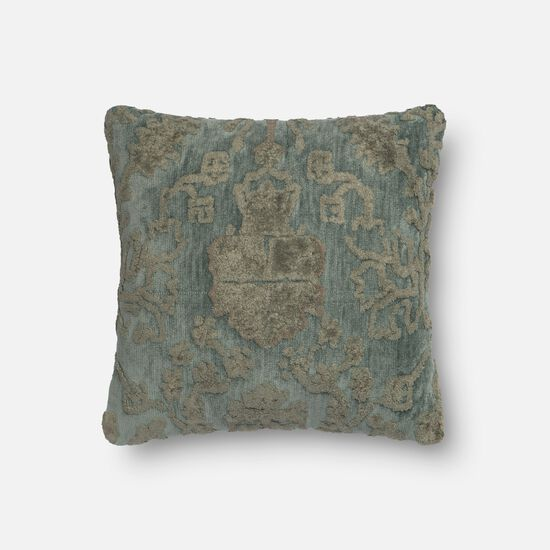 "Transitional 18""x18"" Pillow Cover Only in Grey/Blue"
