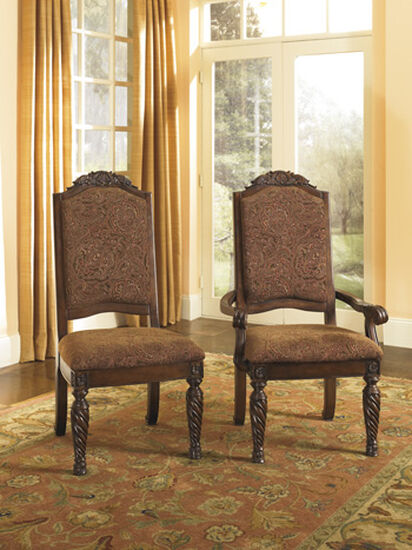 """Traditional 27"""" Upholstered Dining Arm Chair in Dark Brown"""