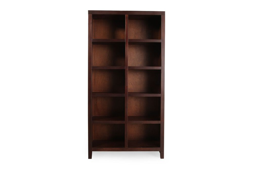 Traditional Cubed Open Bookcase in Dark Cherry