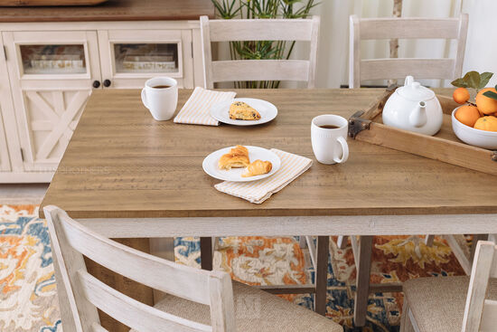 """Casual Rectangular 60"""" Counter Pub Table in White/Brown"""