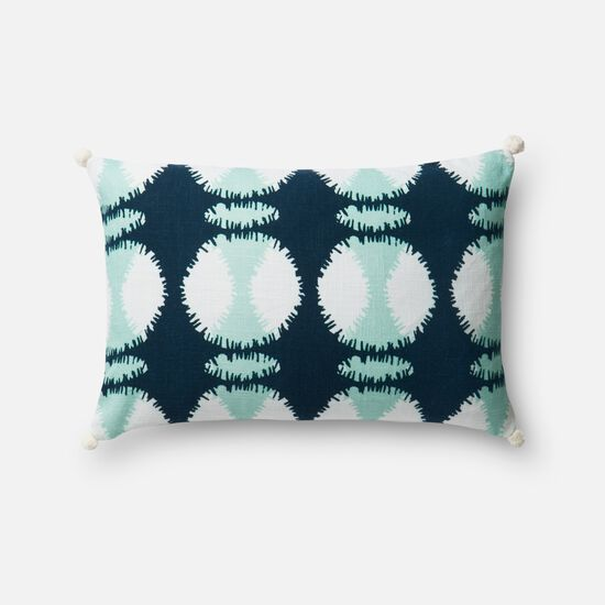 """Contemporary 13""""x21"""" Cover w/down pillow in Teal/White"""