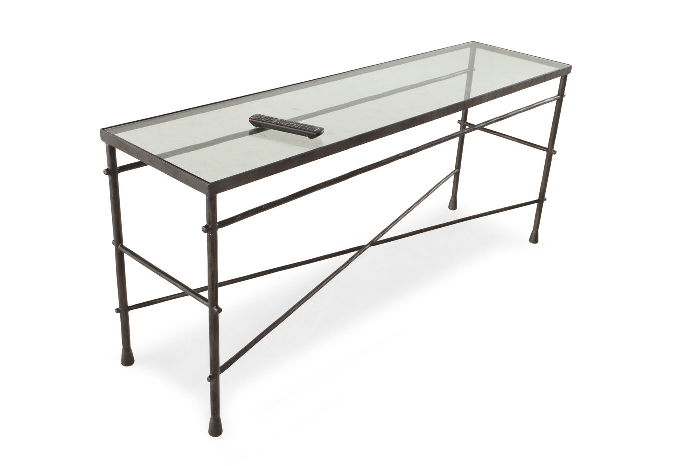 Cross braced traditional sofa table in gunmetal gray mathis cross braced traditional sofa table geotapseo Gallery