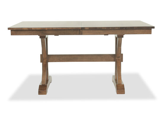 "Traditional 60"" X-Base Trestle Table W/18"" Leaf in Caramel Brown"