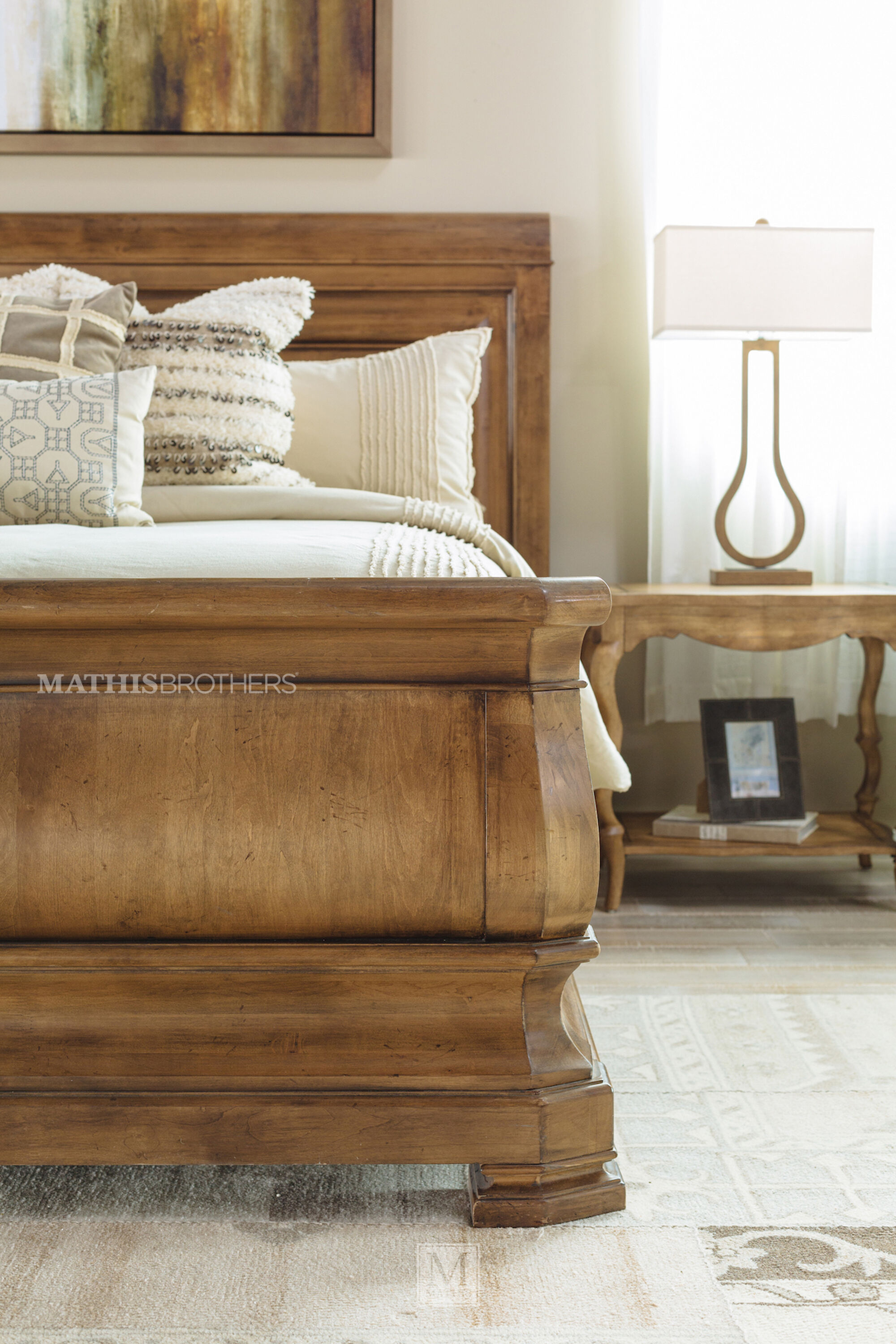 60 Paneled Solid Alder Sleigh Bed In Cognac Mathis Brothers Furniture