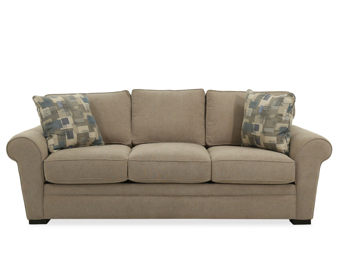 Casual queen sleeper sofa in light brown mathis brothers for Casual couch