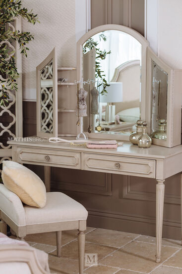 Two-Piece Transitional Youth Vanity Desk & Mirror in Vintage Taupe