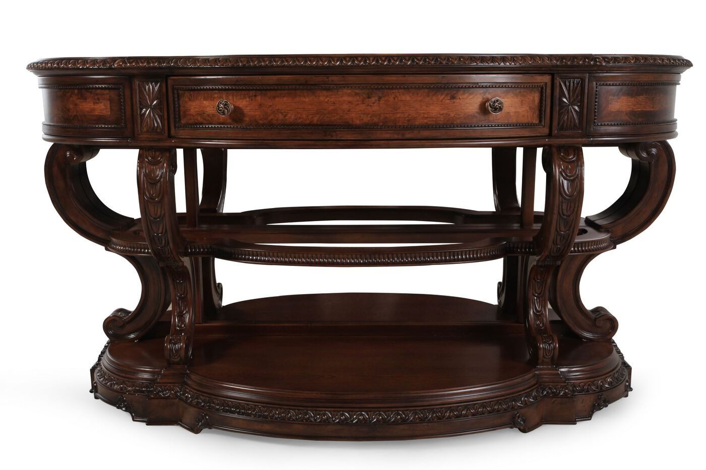 Serpentine front traditional console table in burnished Traditional console tables living room