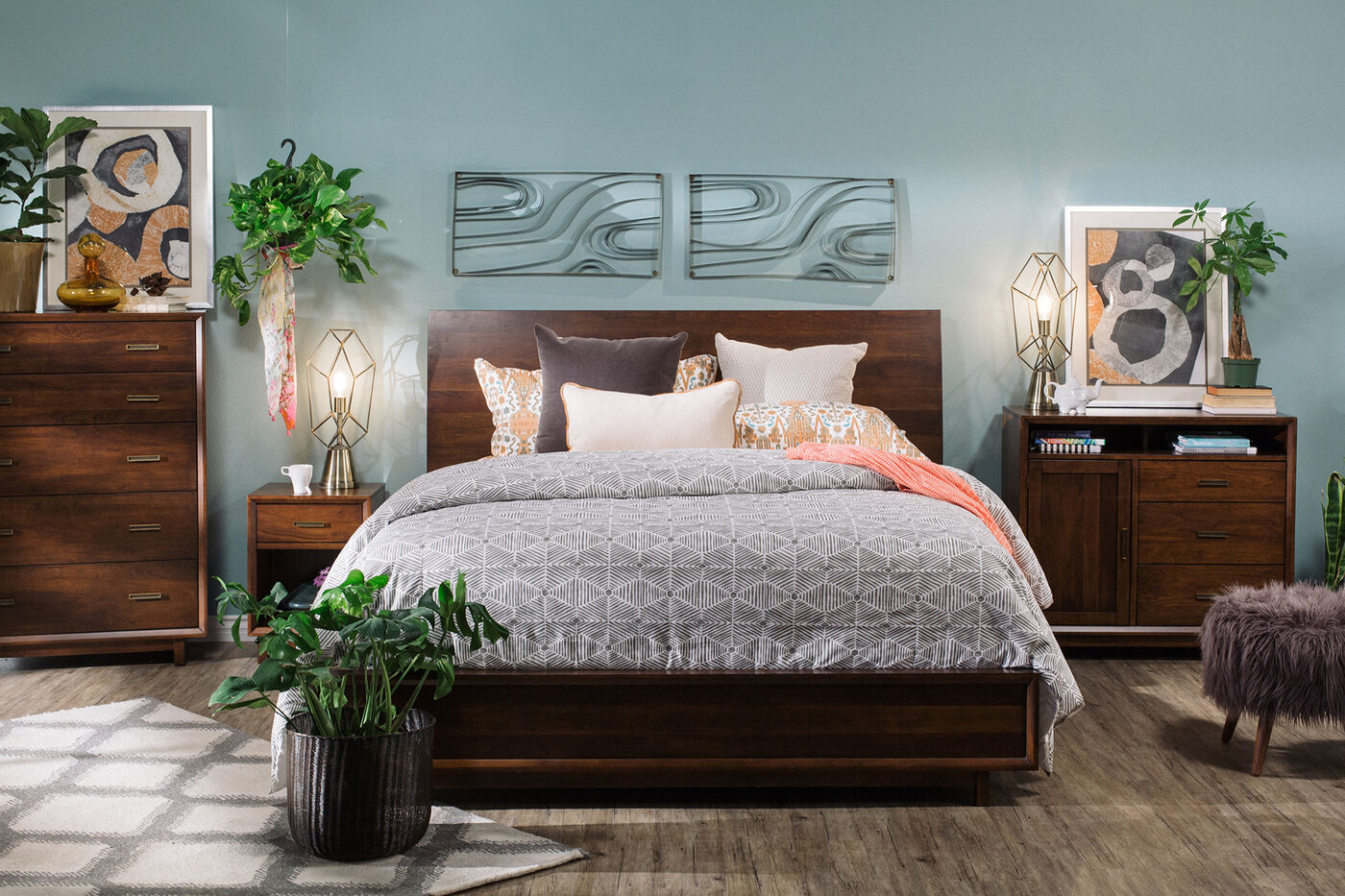 Four piece contemporary bedroom set in tobacco mathis for Bedroom suite furniture